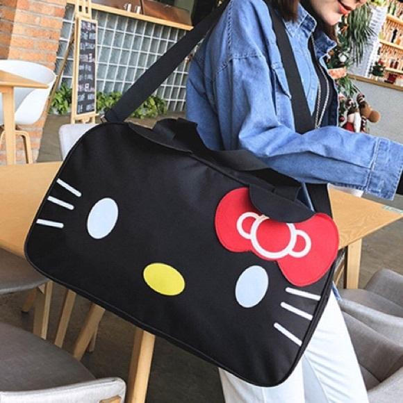 Hello Kitty Large Black Duffle Travel Gym Bag bbae91968e3a5